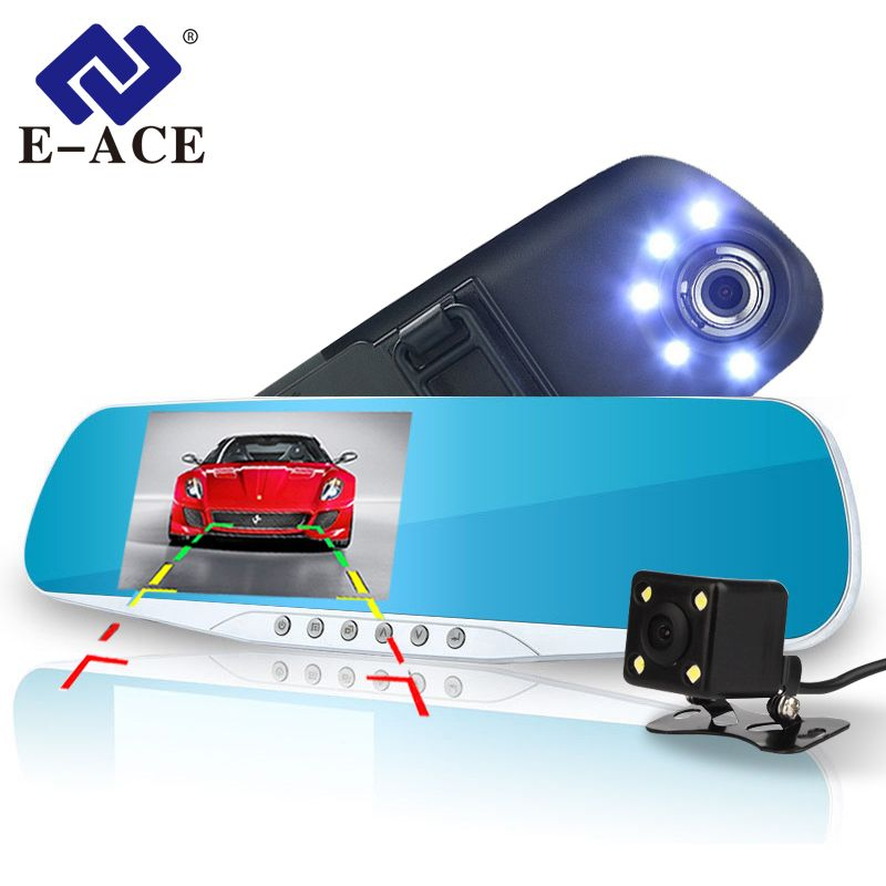 E-ACE Automotive Car Camera Dvr Night Vision 5 Led Lights <font><b>Dash</b></font> Cam Rear View Mirror Dvr Two Camera Registrator Camcorde Car Cams