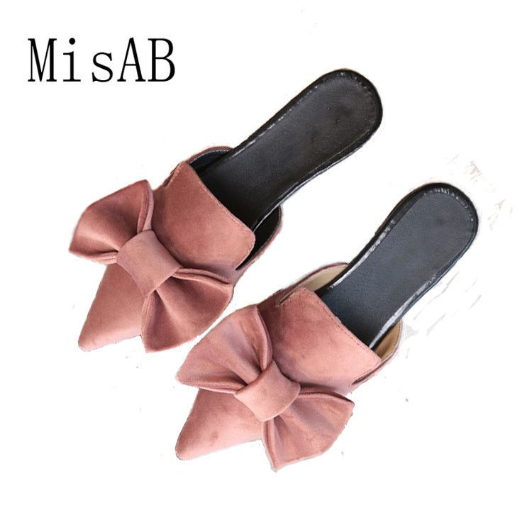 2018 NEW Women sandals slippers bowtie summer fashion vacation sandals <font><b>point</b></font> toe flats suede Sweety quality shoes ALF530