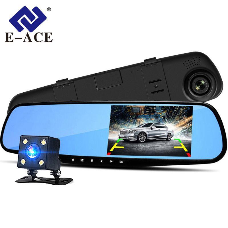 E-ACE A08 4.3 pouces voiture Dvr caméra Full HD 1080P caméra automatique rétroviseur avec DVR et caméra enregistreur Dashcam voiture DVRs