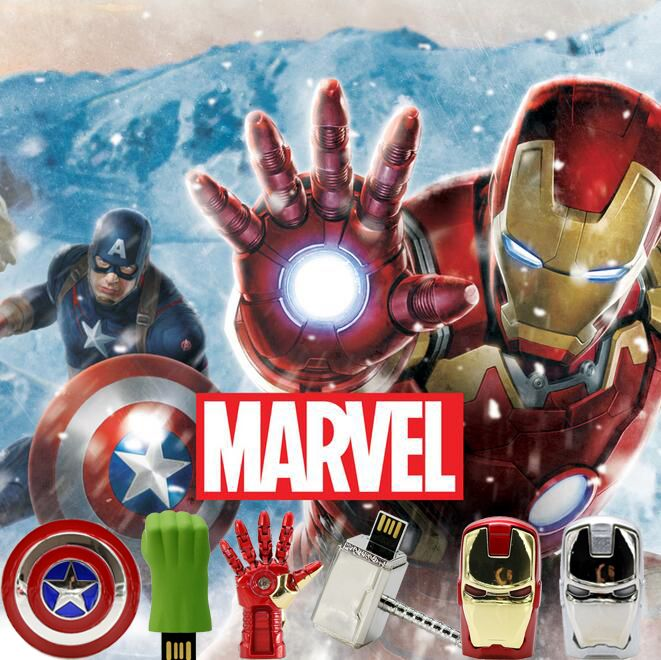 The Avengers usb flash drive 4G iron man 8G pen drive 16G Captain America 32G usb bâton Hulk Thor clé usb marteau U disque