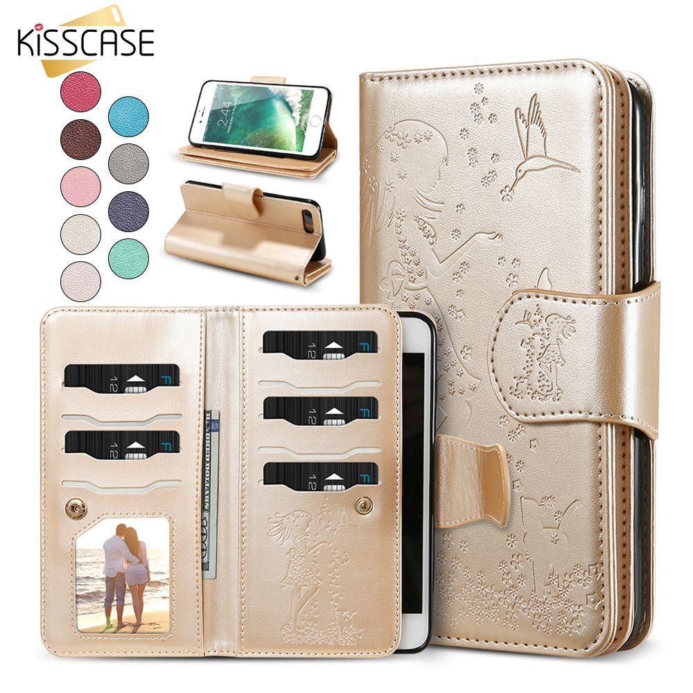 KISSCASE Étui portefeuille Pour iPhone 6 7 6 s 8 5 5S SE Femmes En Cuir Housse Pour iPhone 7 6 6 s 8 Plus Étui à Miroir Accessoires