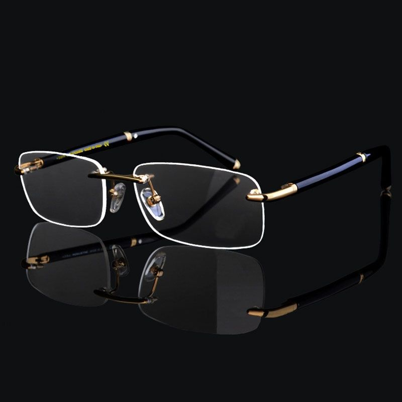 Super Haute Qualité Hommes D'affaires De Luxe Sans Monture Monture de lunettes pour Homme Lunettes Cadre Optique Lunettes