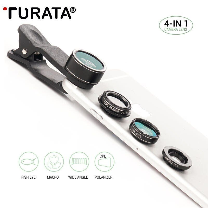 TURATA 4 in 1 Universal Camera Mobile Phone Clip Lens Kits Fisheye Wide Angle Macro Lens For iPhone 7 Samsung Cellphone Sony LG