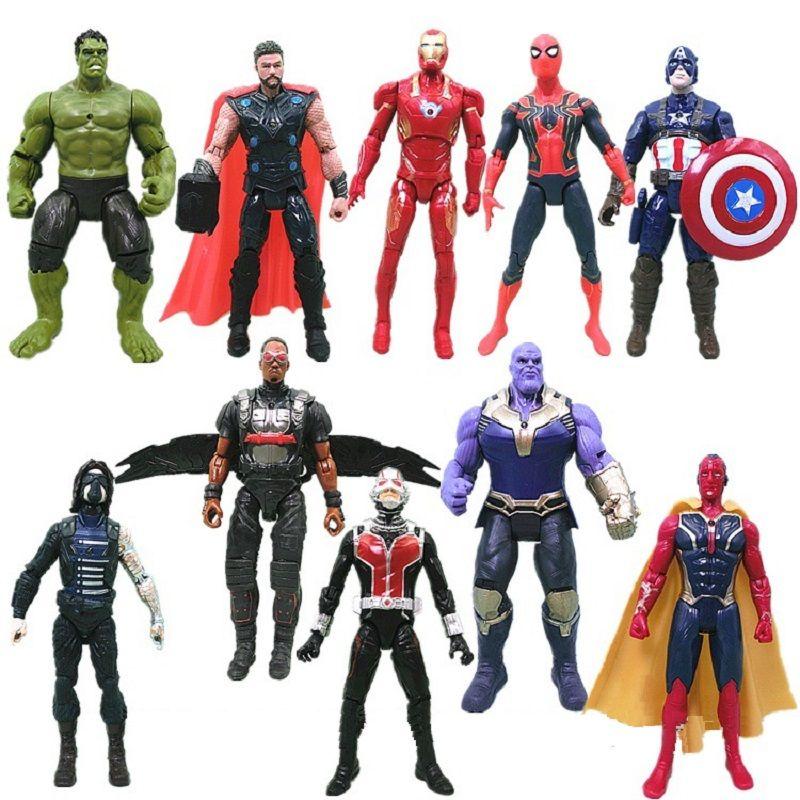 Avengers 3 civil war Hulk Iron Man Spiderman Thanos Vision Captain America Ant Man Thor Loki PVC Action Figure Set Kids Toys
