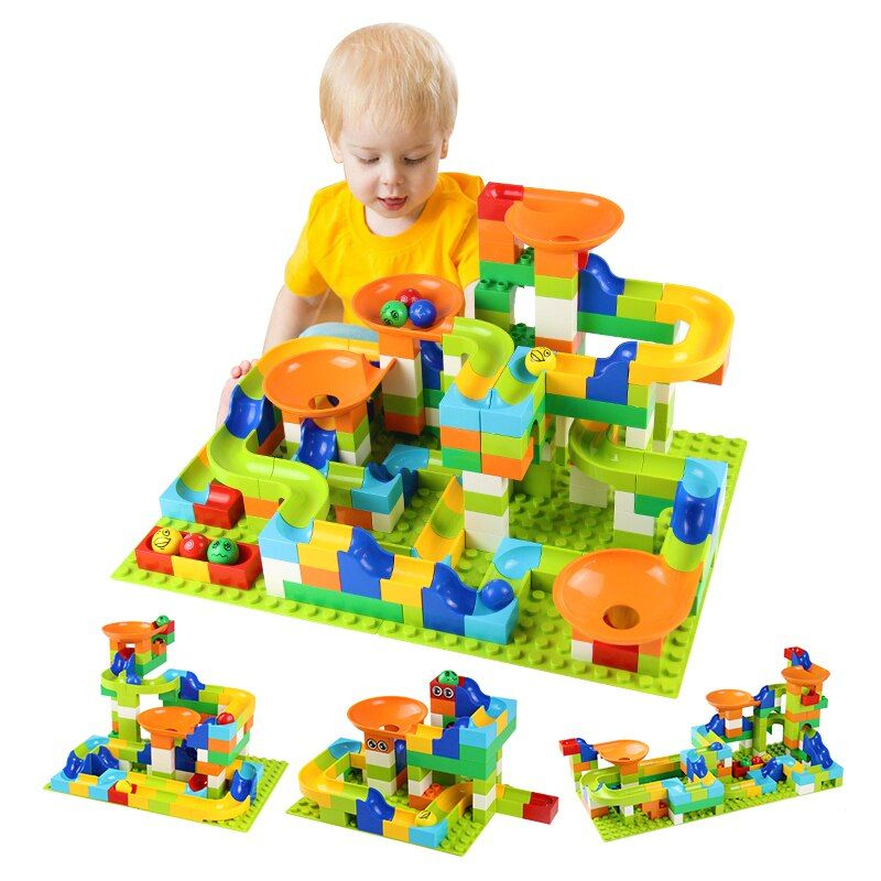 56-224Pcs Big Size Brick Marble Race Run Maze Ball Track Diy Building Blocks Compatible LegoINGly Duploe block toys for children