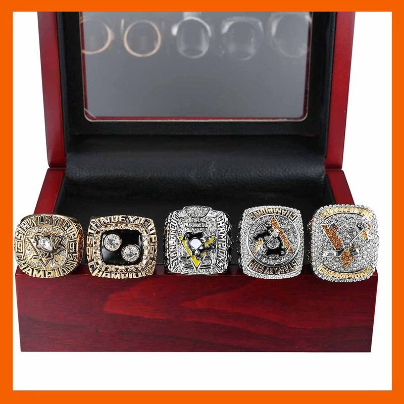 1991/1992/2009/2016/2017 PITTSBURGH PENGUINS STANLEY CUP CHAMPIONSHIP RING, 5 PCS RING SET COLLECTIONS