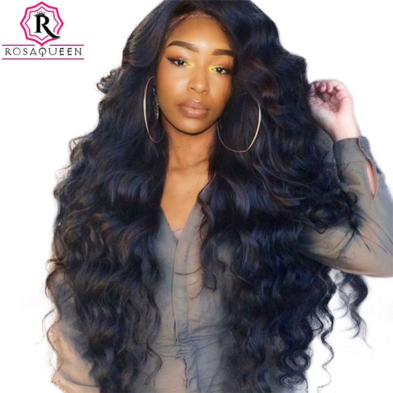 250% Densité Avant de Lacet Perruques de Cheveux Humains Pour Les Femmes Pré Pincées avec Bébé Cheveux Noir Vague de Corps Brésilien Dentelle Perruque Rosa Reine Remy