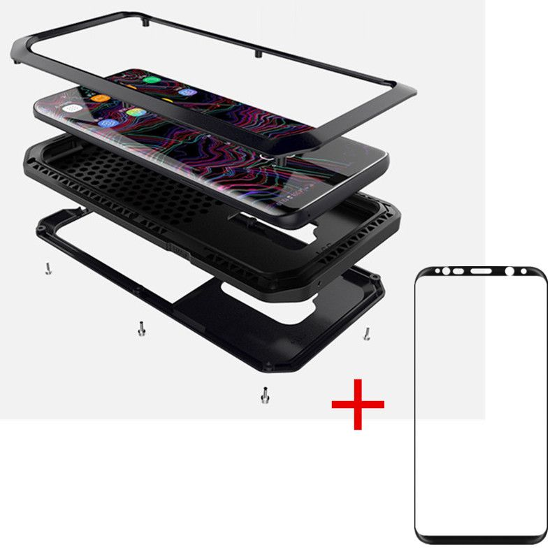 AKASO Heavy Duty Metal Phone Case Shockproof Cover + tempe glass For Samsung S9 S9 PLUS S5 S6 S6 edge S7 S8 S8plus Note 8 case