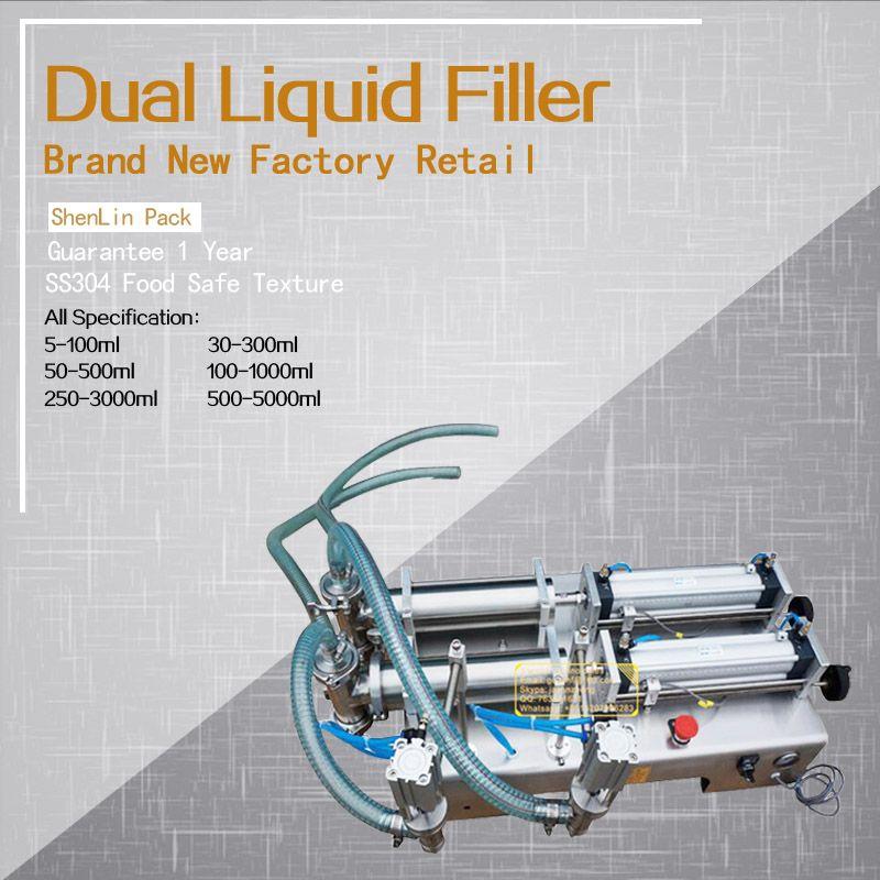 Pneumatische doppel düse dosierung füllstoff flüssigkeiten kolben soft getränke füllmaschine lebensmittel saft wasser abfüllanlagen 100 ml,