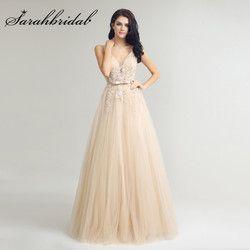 Champagne Lange Abendkleider Sexy V-ausschnitt Backless Spitze Applique Tulle Perlen Bodenlangen Prom Party Kleider CC242