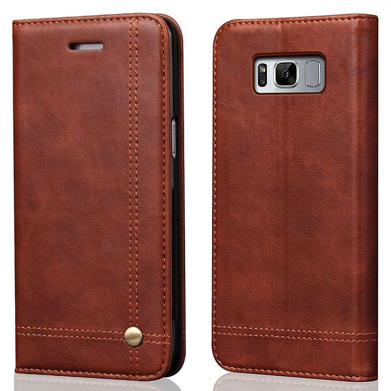 REFUNNEY Magnétique Flip Vintage Rétro Étui En Cuir pour Samsung Galaxy S7 Bord S8 S9 Plus Note 8 Livre Portefeuille de Couverture coque Capinha