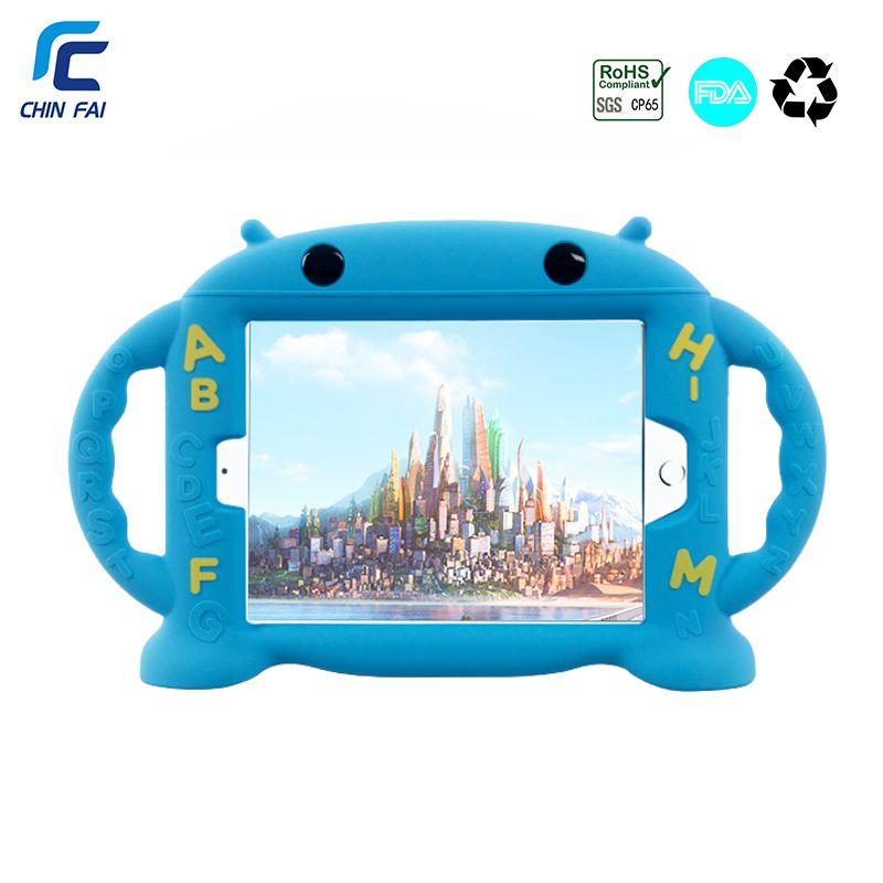 Étui pour iPad antichoc CHINFAI Mini 1 2 3 4 poignées souples pour enfants support coque en silicone Non toxique pour iPad mini 4 tablette 7.9''