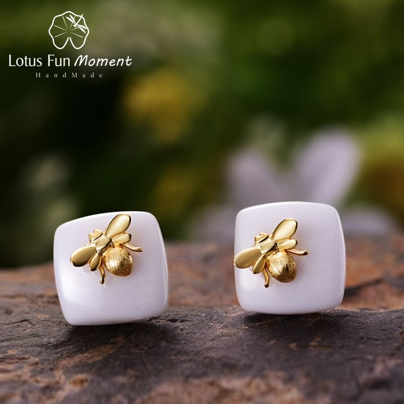 Lotus Fun Moment Real 925 Sterling Silver 2018 Fashion Jewelry Pink Butterfly Small Bee ceramics Stud Earrings for Women Bijoux