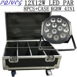8 PCS/12X12 W led Par lumières + Flight Case RGBW 4in1 plat LED PAR dmx512 disco lumières professionnel dj équipement