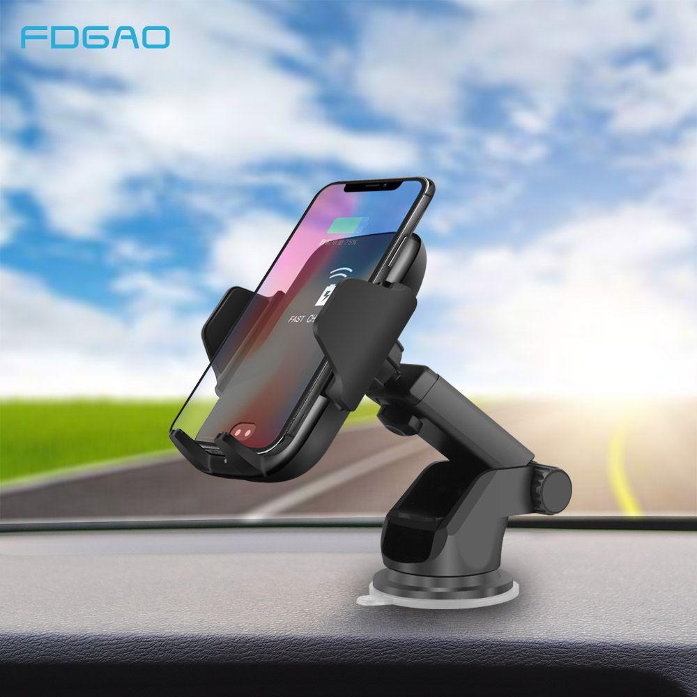 FDGAO Qi Voiture Sans Fil Chargeur Pour iPhone X 8 Xs Max Xr Samsung S8 S9 Automatique Infrarouge Capteur 10 w rapide Sans Fil De Charge Titulaire
