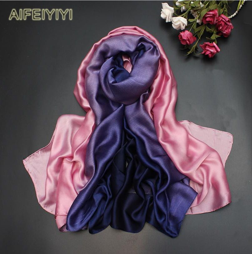 2018 autumn and winter silk scarf silk long gradient silk scarf winter and autumn fashion scarf shawl long autumn scarf