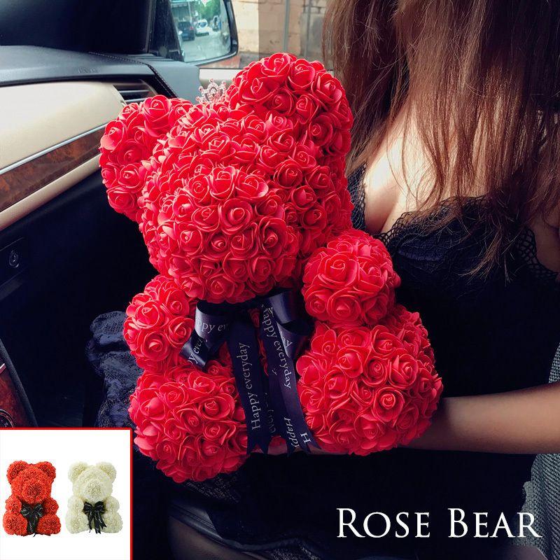 2018 livraison directe 40 cm grand ours en peluche rouge Rose fleur artificielle cadeaux de noël pour les femmes cadeau de saint valentin