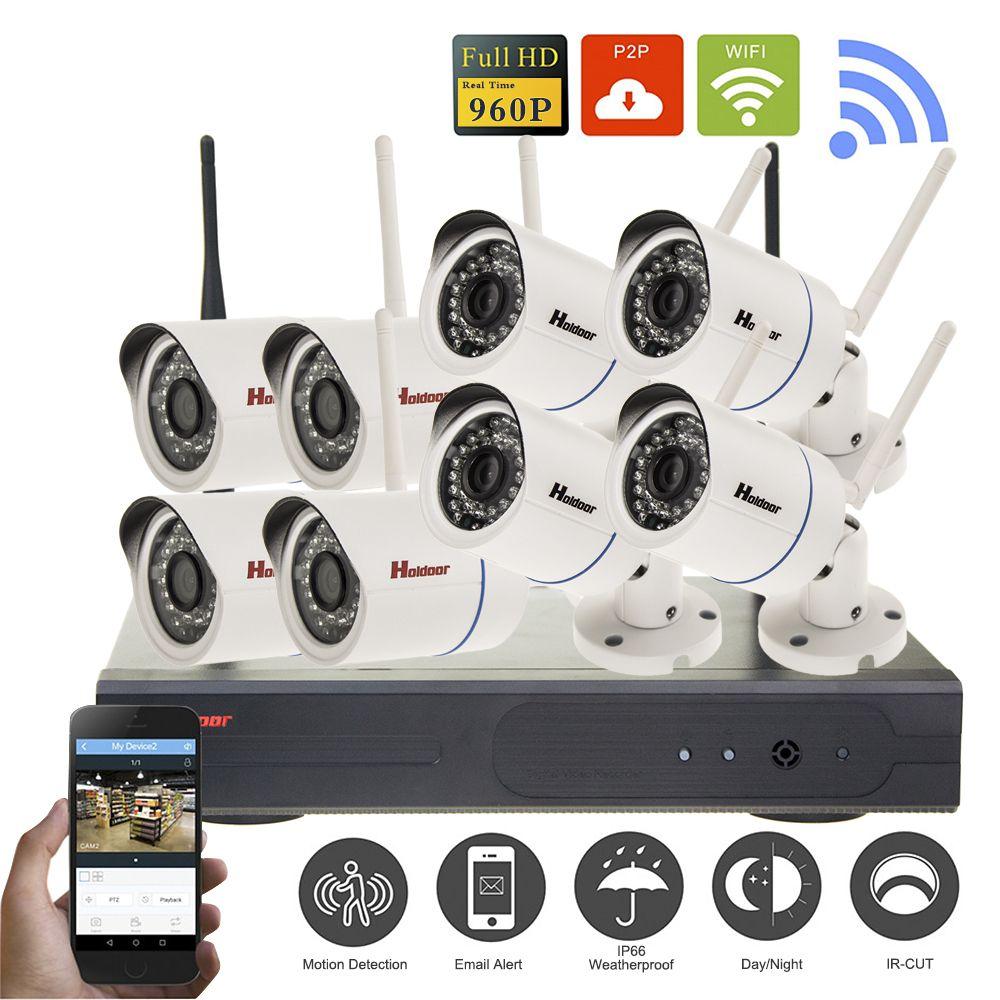 8CH Wireless NVR CCTV System 960P IP Camera Wifi Outdoor Waterproof IR Night Vision Home Video Surveillance CCTV Kit