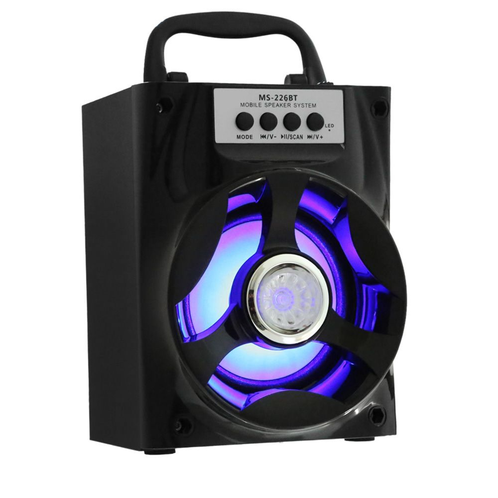 Portable Multi-functional Bluetooth Speaker Big Drive Unit Bass Colorful Backlight FM Radio Support AUX 3.5mm USB TF Card Player