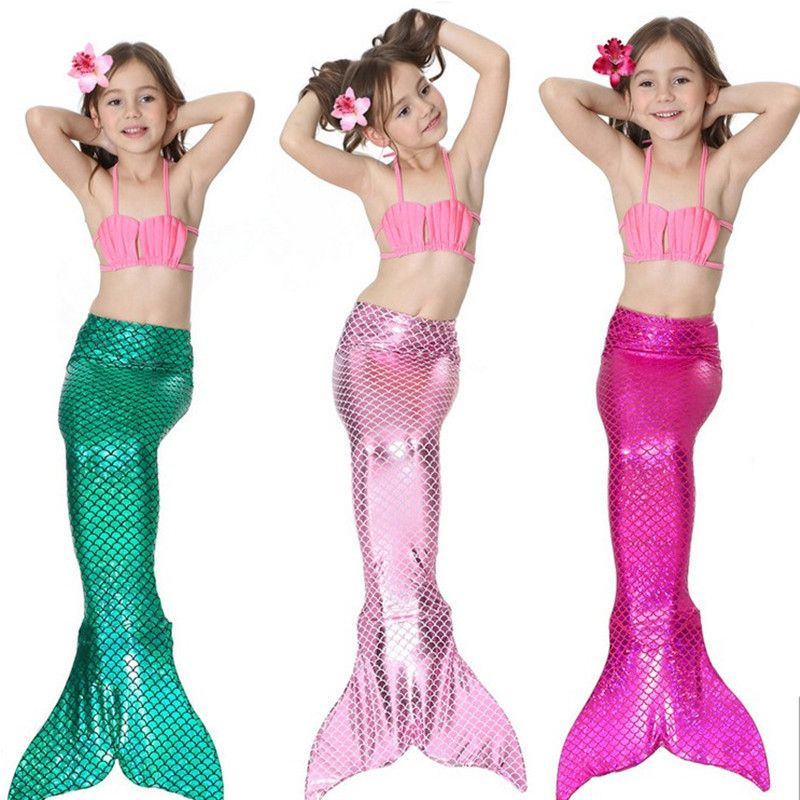 Bear Leader Girls Clothing Sets 2018 New Summer Girls Dress Little Mermaid Tail Bikini Suits Swim Costume 3PCS For 3-12 Years