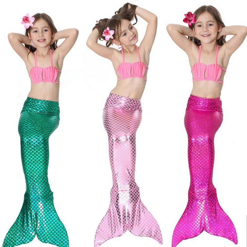 Bear Leader Girls Clothing Sets 2018 New Summer Girls Dress Little Mermaid <font><b>Tail</b></font> Bikini Suits Swim Costume 3PCS For 3-12 Years