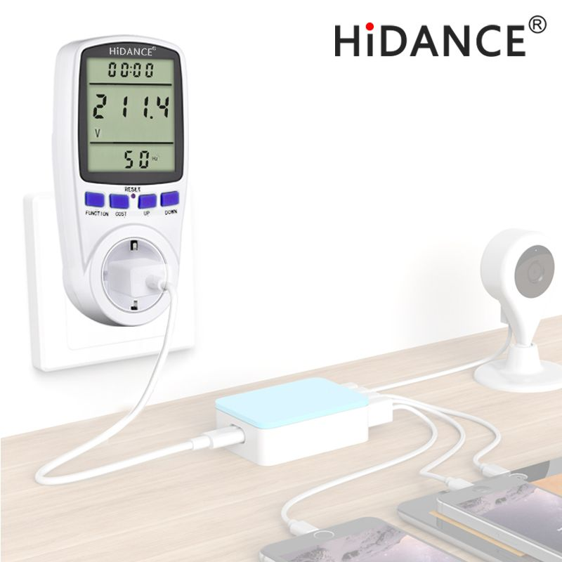 HiDANCE AC power meter 220v digital wattmeter eu energy meter watt monitor electricity consumption <font><b>Measuring</b></font> socket analyzer