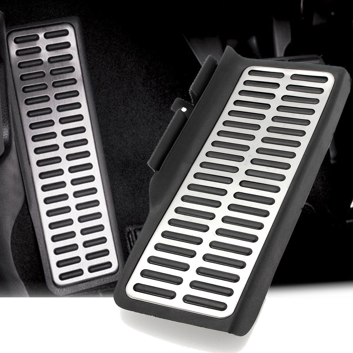1x Dead Pad Foot Rest Footrest Pedal Aluminum For VW Volkswagen Jetta MK6 2012-2017 Black and Silver Super Anti-skid