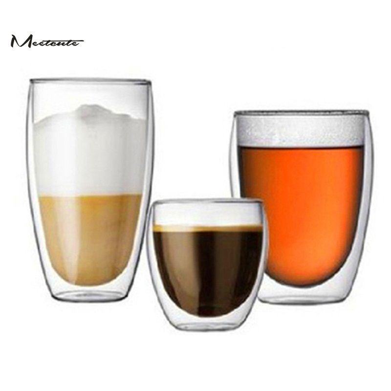 Meetcute Double Layer Wall Cup Clear Glass Beer Tea Cup Glass Coffee Milk Mug Heat Resistant Cup Transparent Drinkware