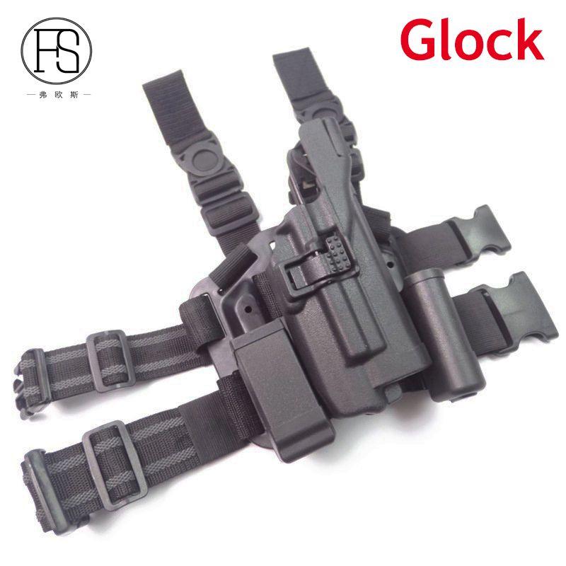 Glock With Flashlight Leg Holster Right Hand Hunting Gun Holster Black Color Fit Pistol Glock 17 19 22 23 31 32