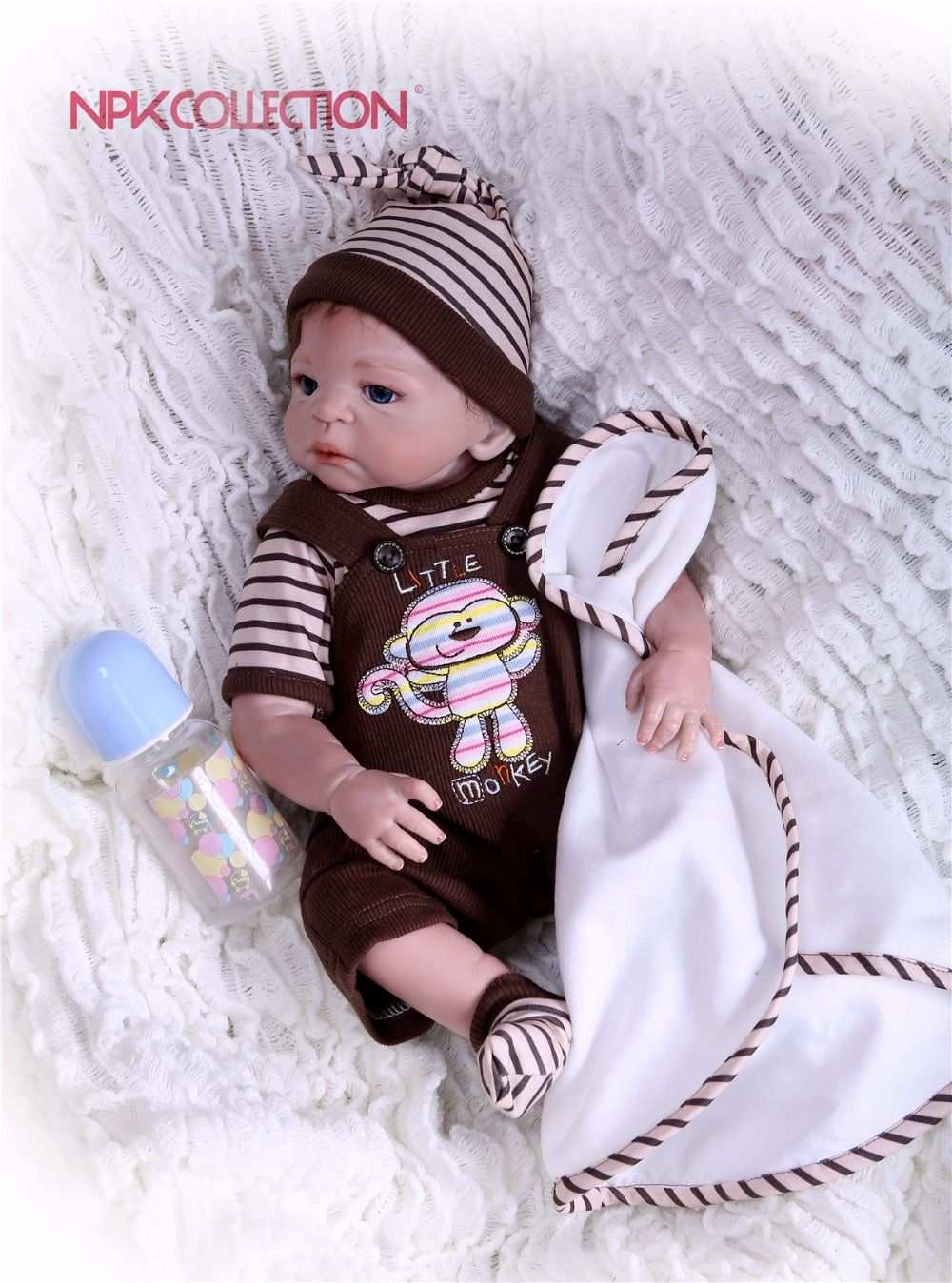NPKCOLLECTION 2018 New design Doll Full Silicone Body Lifelike Reborn Prince Doll Handmade Baby Toy hot sale Xmas Gifts
