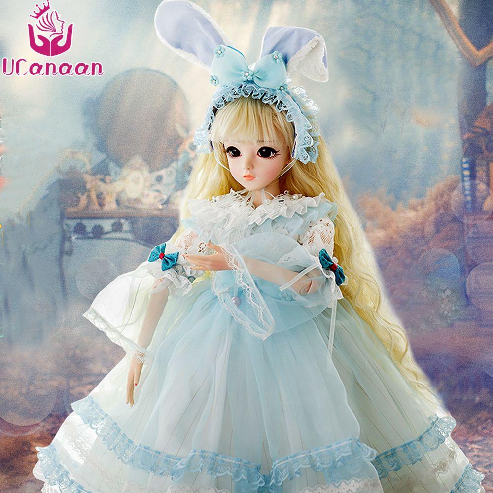 Ucanaan 1/3 bjd Muñecas SD muñeca con traje de conejo vestido elegante Pelucas shose cosmética hermosa Juguetes para Niñas Muñecas 60 cm