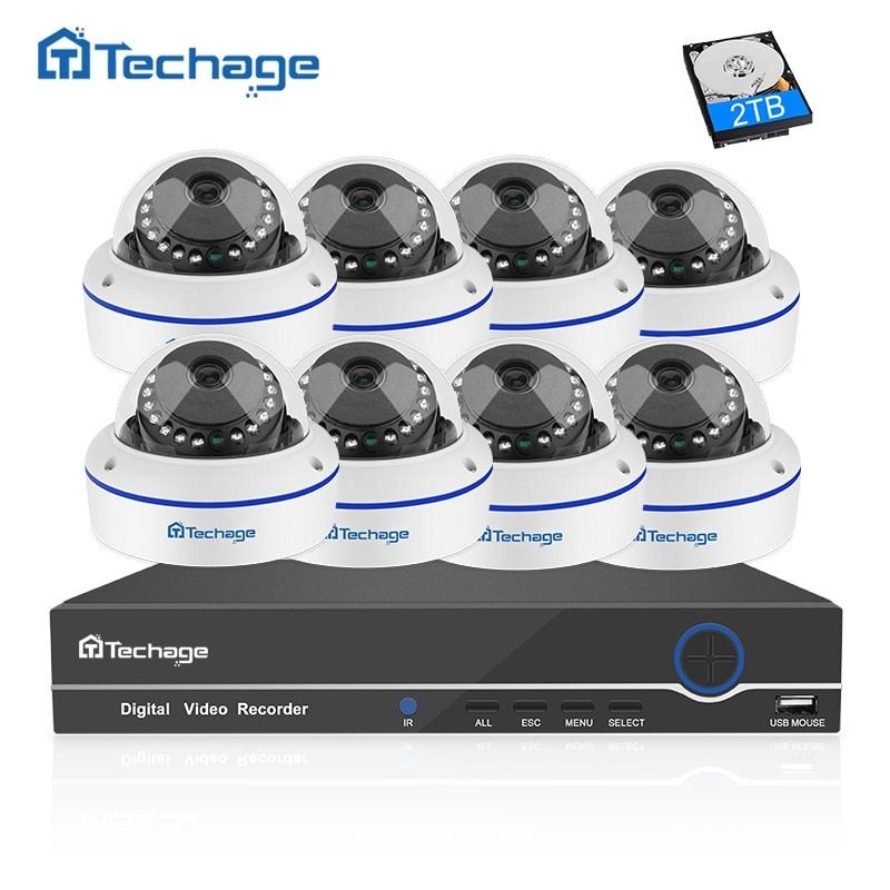Techage 8CH 1080P CCTV System POE NVR Kit 8PCS Anti-vandal Dome Indoor Vandalproof IP Camera P2P Onvif Security Surveillance Set