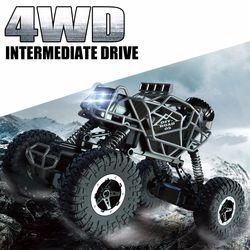 Mobil RC 4WD Remote Control Mobil Panjat Tebing Mobil 4X4 Motor Ganda Bigfoot Off-Road Kendaraan RC mainan untuk Anak Laki-laki