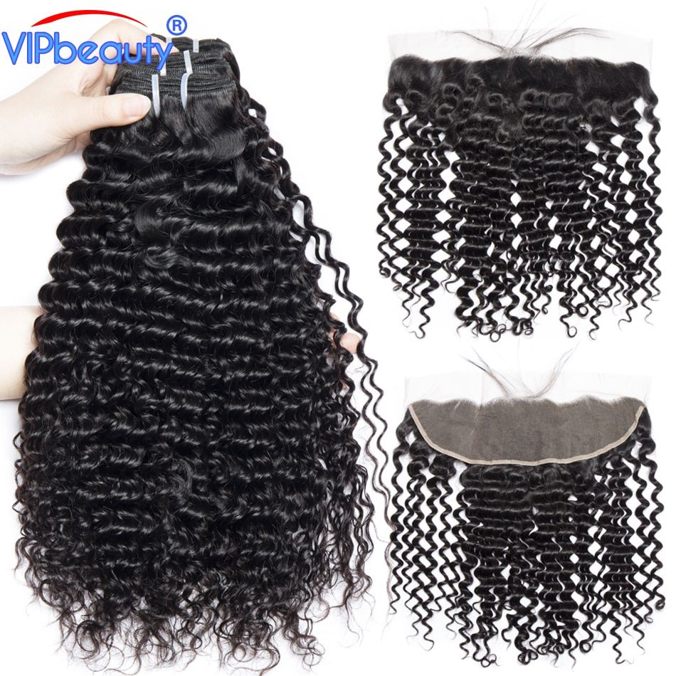 Vip Beauty Ear To Ear Lace Frontal Closure With Bundles Non Remy Peruvian Deep Curly Human Hair Weave 3 Bundles With Closure