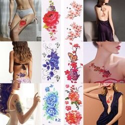1Pc 3D Lifelike Rose Flower Sex Waterproof Temporary Tattoos Women Flash Tattoo Arm Shoulder Big Flowers Stickers