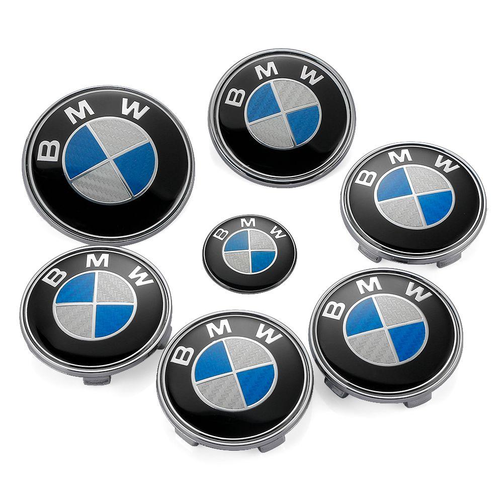 7PCS BMW Wheel Center Hub Cap Auto Head Hood Emblem Rear Boot Label Car Bonnet Logo Tail Trunk Badge BMW Steering Wheel Stickers