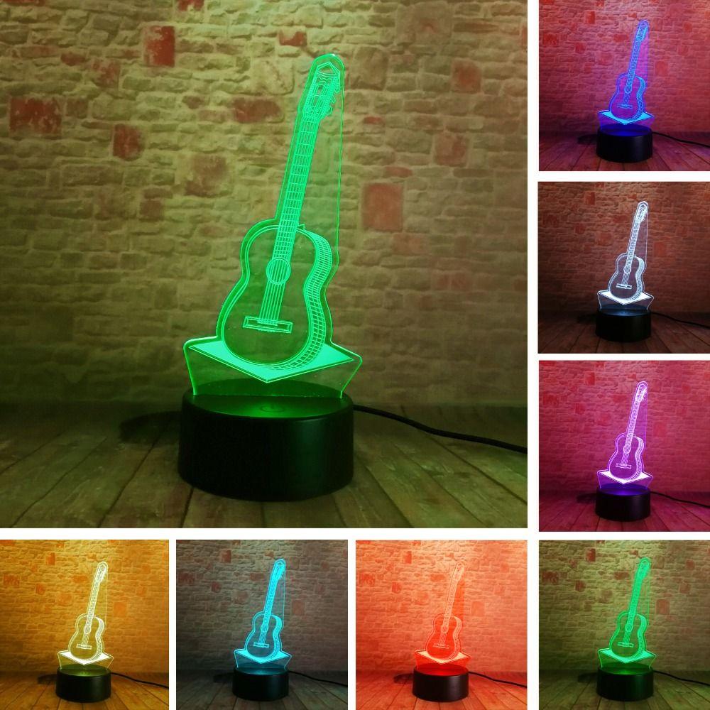 3D mode guitare nuit éclairage Festival 7 couleurs changeant tactile lampes de table LED chambre décor musique passionné enfant bébé cadeaux