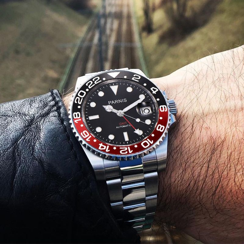 Parnis 40mm Mechanical Watches GMT Black Red Ceramic Bezel Diver Watch Automatic Stainless Steel Sapphire Role Luxury Watch Men