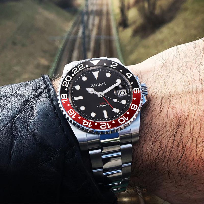 Parnis 40mm <font><b>Mechanical</b></font> Watches GMT Black Red Ceramic Bezel Diver Watch Automatic Stainless Steel Sapphire Role Luxury Watch Men