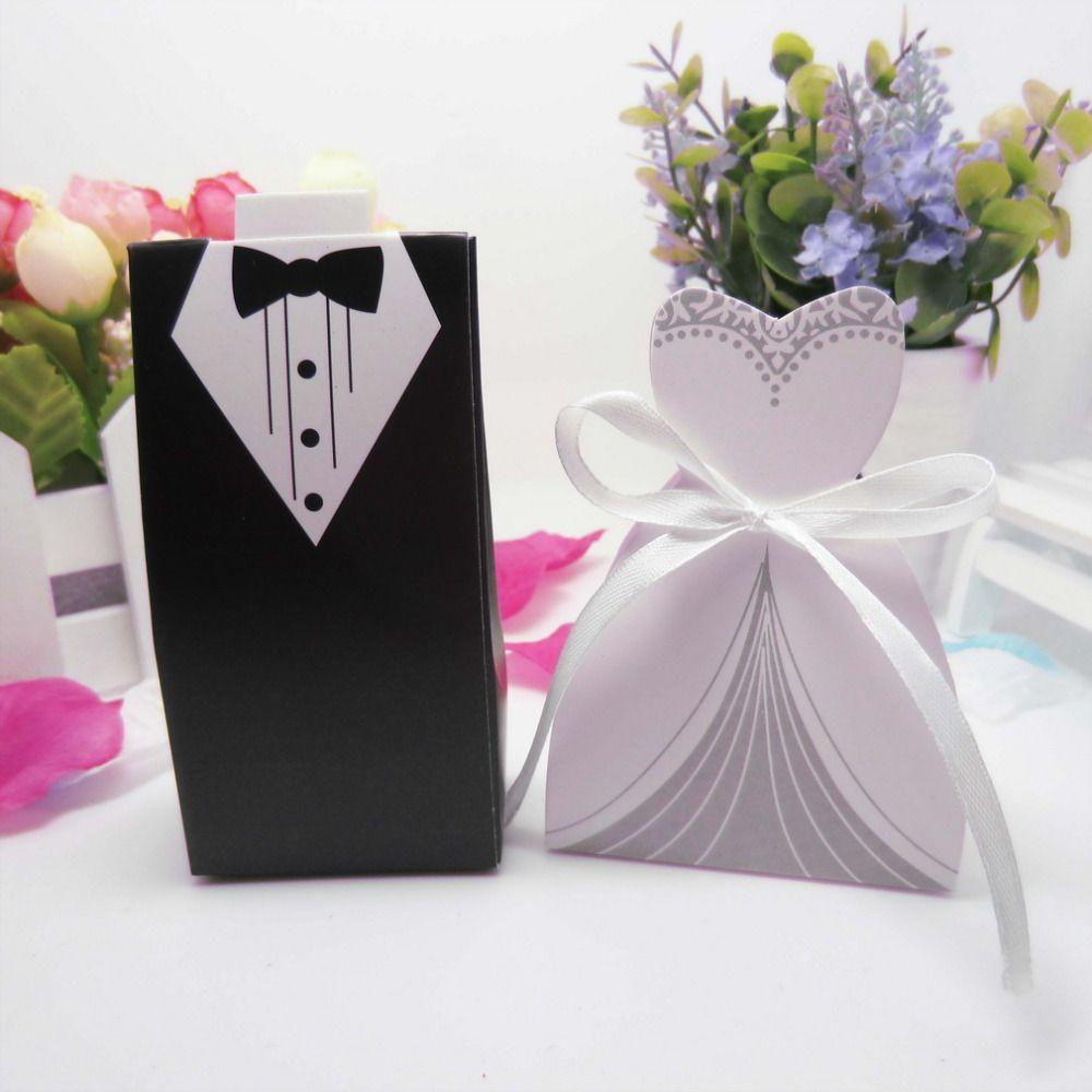 50 unids decoración de La Boda del novio de la novia regalos dulces caja de papel para Envoltura de Regalo Suministros fiesta de cumpleaños de La Boda el matrimonio