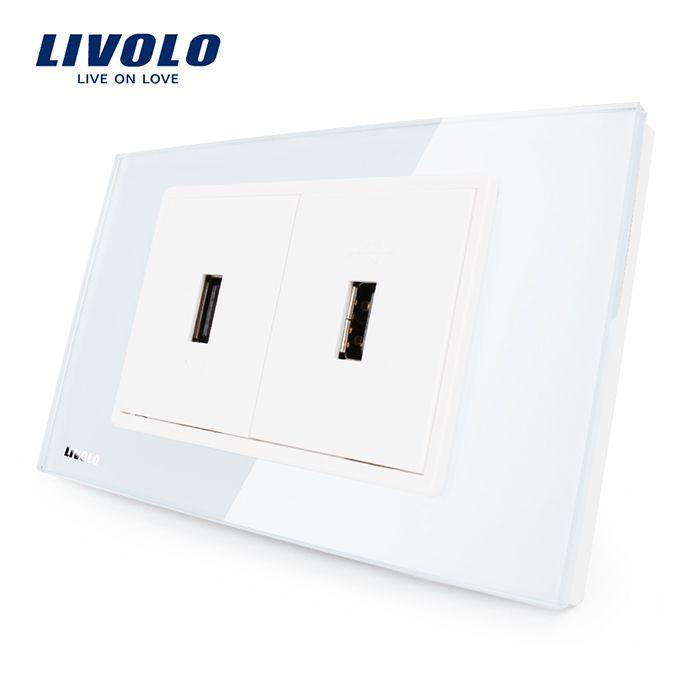 Livolo US Standard USB Socket(2.1A,5V), White/Black Crystal Glass, Wall Powerpoints Without Plug, 2Gang USB, VL-C392USB-81/82