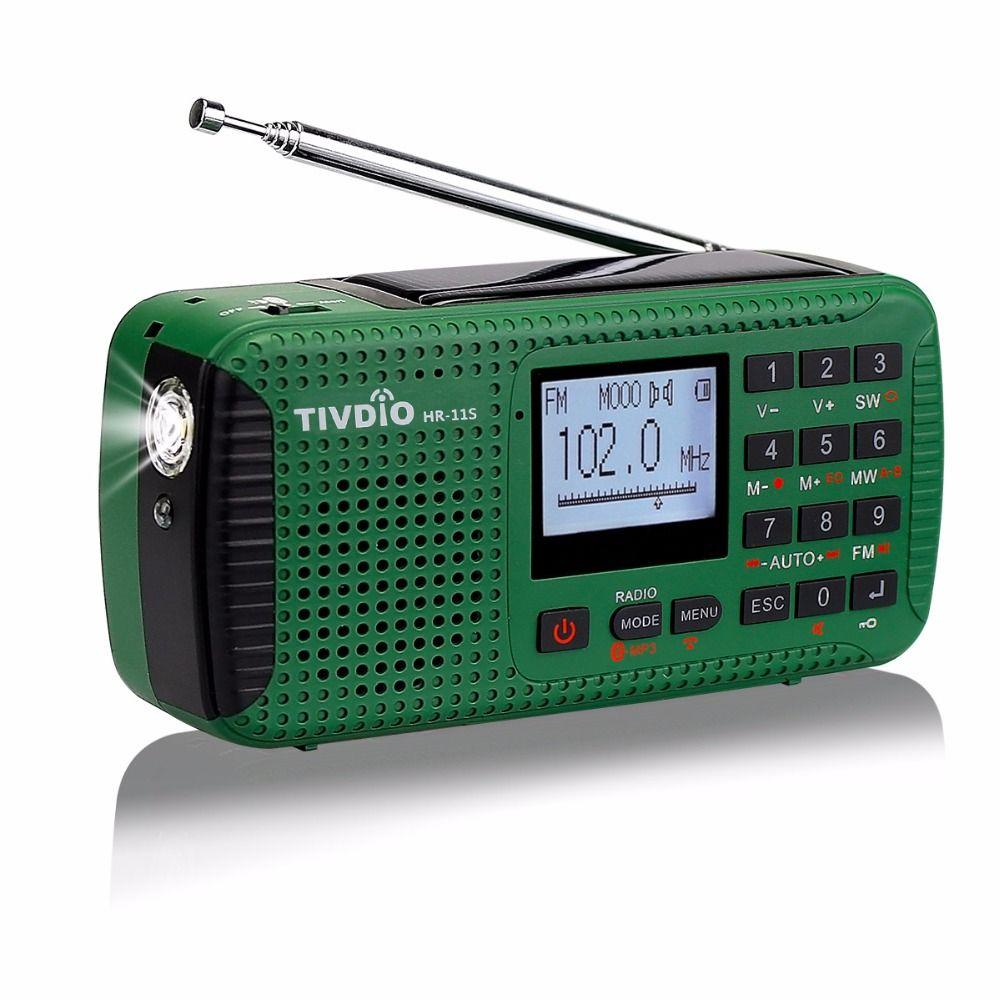 TIVDIO HR-11S Portable Radio Manivelle Solaire D'urgence Radio Récepteur FM MW SW Avec Bluetooth MP3 Lecteur Numérique Enregistreur F9208