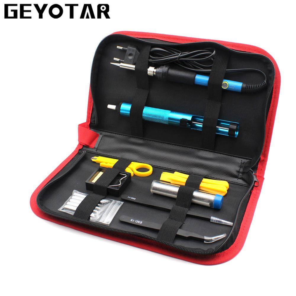 220V 60W EU Plug Electric Soldering Iron set Adjustable Temperature Welding Repair Tool Kit with 5pcs Tips Tweezers Solder Wire