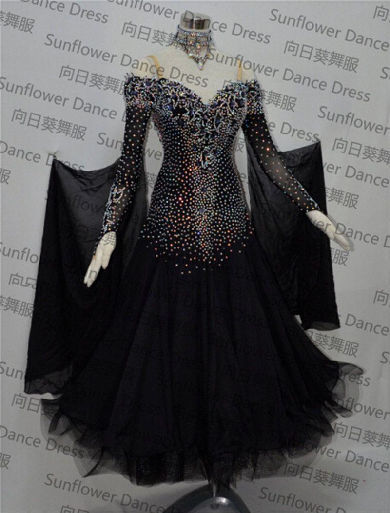 Nouvelle robe de danse standard, robes de concours de danse de salon, robe en mousseline de soie, robes de danse pour femmes, jupes de danse modernes, couleur noire