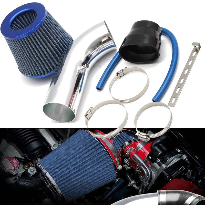 3 75mm Aluminum Car Cold Air Intake System Turbo Induction Pipe Tube + Cone Filter Kit Car Cold Air Intake Pipe Kit
