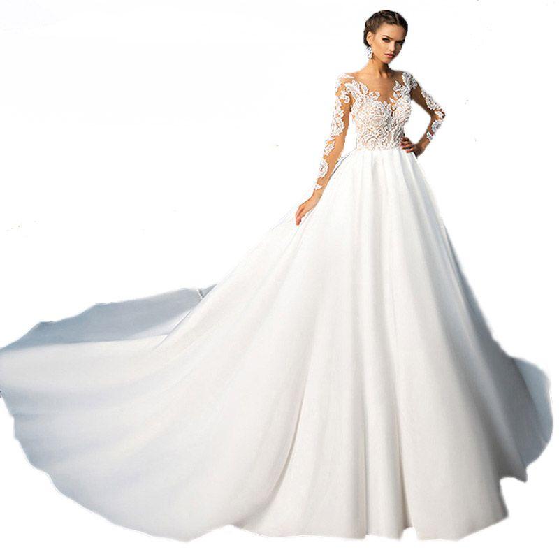 2018 New Lace Satin A-line Wedding Dresses Cathedral Royal Train Button Back Long Sleeves Vintage Bridal Gown Vestido De Novia