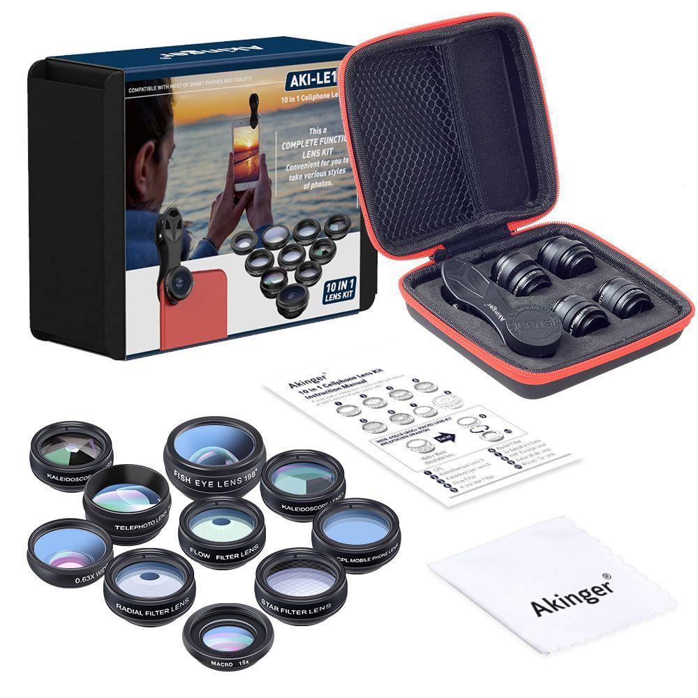 Akinger caméra Lentille en mobile téléphone lentille Kit 10in1 Fisheye Grand Angle macro télescope pour iphone xiaomi note samsung smartphone