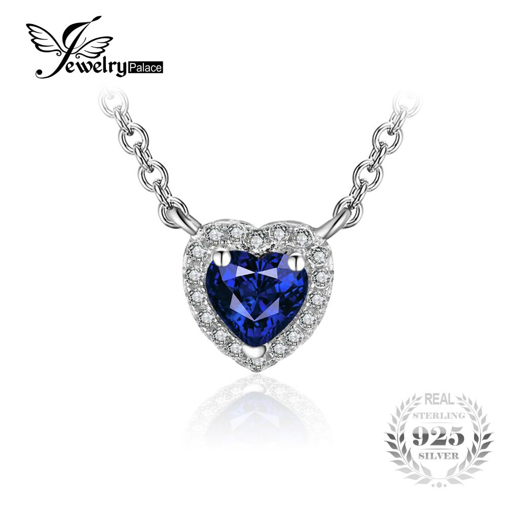 JewelryPalace Heart Of The Ocean 0.6ct Created Blue Sapphire 925 Sterling Silver Solitaire Pendant Necklace 18 Inches for Women