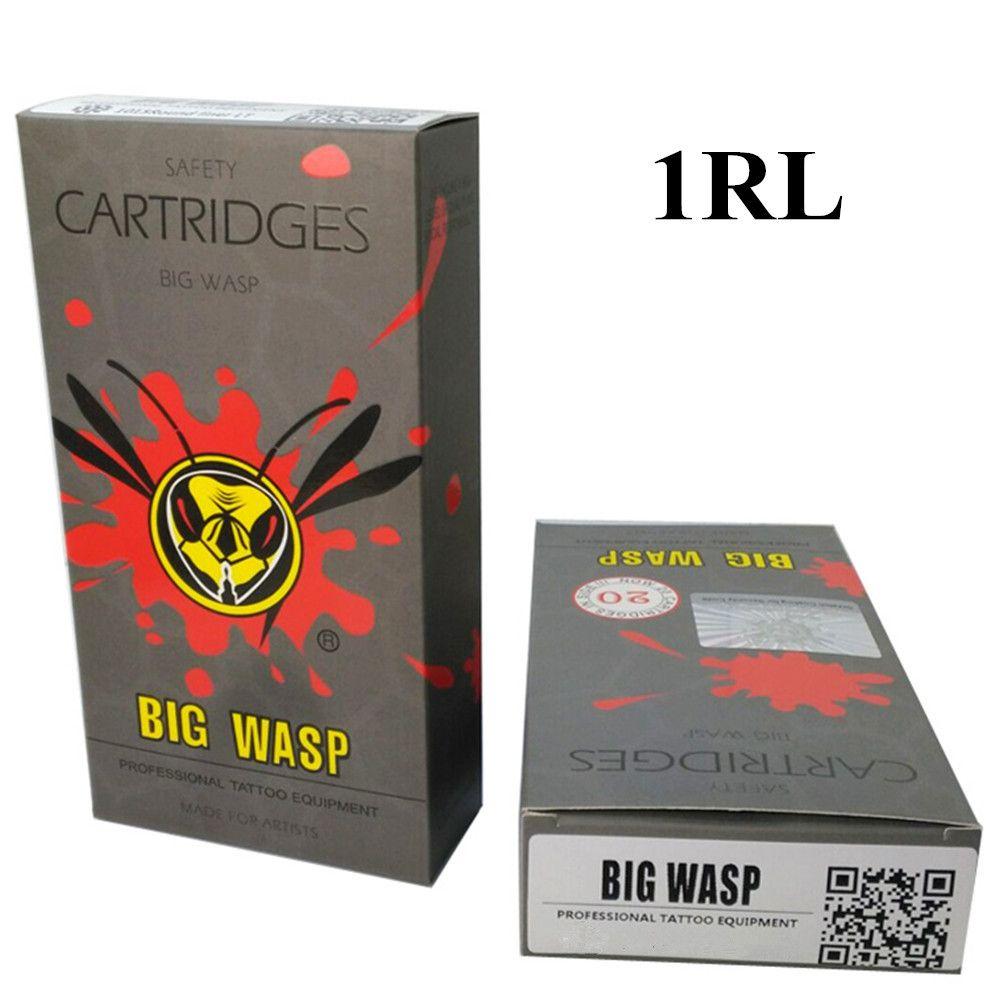 BIGWASP Gray Disposable Needle Cartridge 1 Round Liner (1RL) 20Pcs/Box