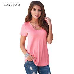 YIRANSHINI 2018 D'été Nouveau Sexy Lady Manches Courtes O-cou Solide Imprimé Casual Rose Femmes Évider T-shirt LC250067